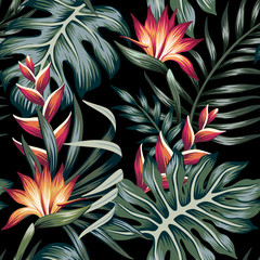 Tropical strelitzia floral palm leaves seamless pattern black background. Exotic jungle wallpaper.