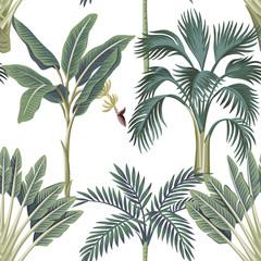 Tropikalne palmy rocznika, bananowiec kwiatowy wzór bezszwowe białe tło. Tapeta egzotycznych dżungli botanicznych. - 308496125