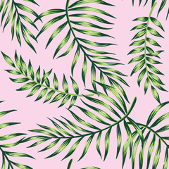 Tropical floral palm leaves seamless pattern pink background. Exotic jungle wallpaper.