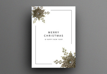Christmas Greeting Card Layout with Gold Stars