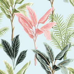 Tropical vintage pink and green banana trees, palm trees, plants floral seamless pattern blue background. Exotic jungle wallpaper.
