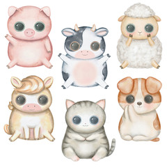 Set with kawaii cartoon cute pig, sheep, cat, dog, horse and cow with big eyes isolated on white background. Watercolor hand drawn illustration