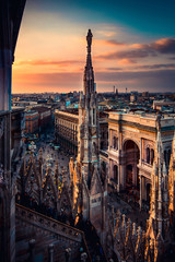 Spoed Fotobehang Milan Milan Duomo Italy view from the roof terrace at sunset