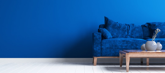 Wall Mural - Modern interior of living room, concept of classic blue color of the year 2020 in interior, 3d render