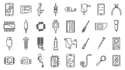Mobile phone maintenance icons set. Outline set of mobile phone maintenance vector icons for web design isolated on white background