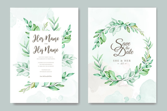 wedding invitation design with green watercolor leaves