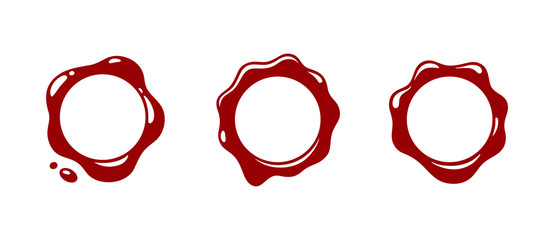 Red wax seal isolated on white background. Wax seal logo. Stamp wax seal. Wax seal mark. Vector illustration. Color easy to edit. Transparent background.
