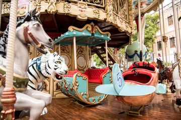 Classic merry-go-round or carousel at the winter fair