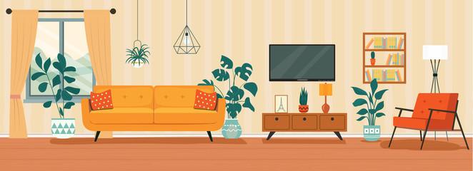 Fototapeta Living room interior. Comfortable sofa, TV,  window, chair and house plants. Vector flat style illustration obraz
