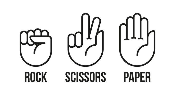 Rock, scissors, paper hand gesture. Vector line icons