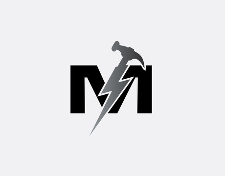 Hammer Flash M Letter Logo, Fast Service Logo Icon.