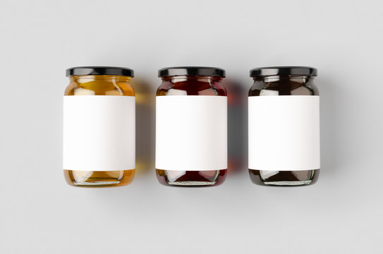 Honey jars mockup with blank label. Three different colors.