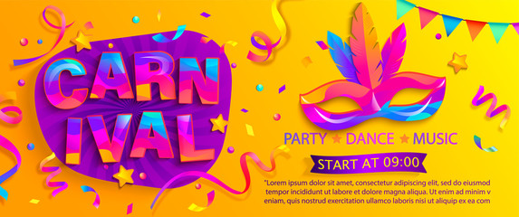 Banner for fun carnival party. Traditional mask with feathers and confetti for carnaval,mardi gras, fesival,masquerade,parade.Template for design invitation,flyer poster,banners. Vector illustration. Wall mural