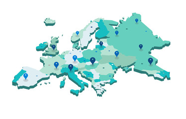 Europe 3d map with gps pins isolated on white background - Vector Wall mural