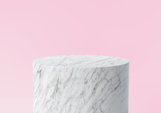 Product display. Empty white marble podium on pastel pink color background. 3d rendering.