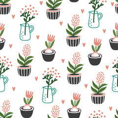 Cute Flowers in pots on white background. House plants. Seamless background pattern. Vector illustration for textile print, wallpaper, wrapping paper.
