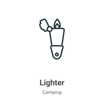 Lighter outline vector icon. Thin line black lighter icon, flat vector simple element illustration from editable camping concept isolated on white background