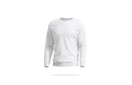 Blank white casual sweatshirt mockup, left side view
