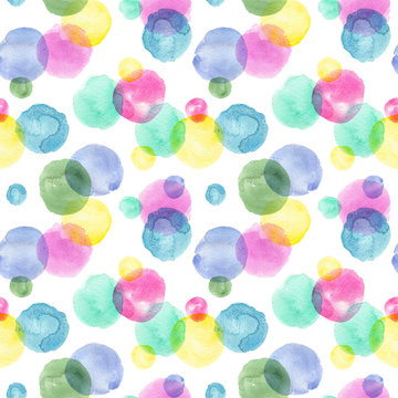 watercolor confetti colorful spots. seamless pattern on a white background.