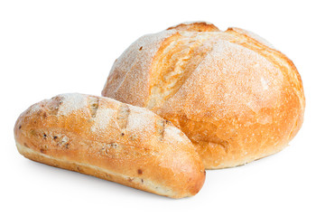 Door stickers Bread Fresh loaf and a big of bread isolated on white background, close up.