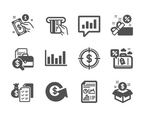 Set of Finance icons, such as Sale, Column chart, Dollar exchange, Post package, Dollar target, Travel loan, Credit card, Accounting wealth, Analytical chat, Payment method classic icons. Vector