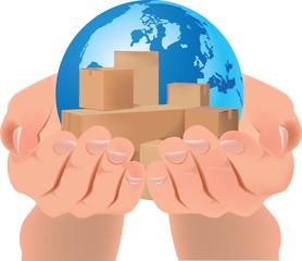 scatole imballaggio pianeta terrra mani unite