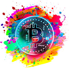 Abstract creative wallpaper with bitcoin
