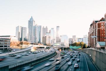 Atlanta Downtown traffic at sunset Fotomurales