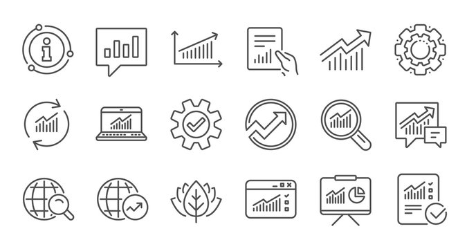 Analytics line icons. Reports, Charts and Graphs. Data statistics linear icon set. Quality line set. Vector