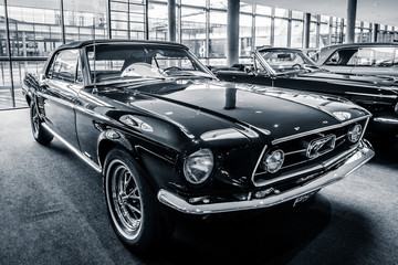 """STUTTGART, GERMANY - MARCH 03, 2017: Pony car Ford Mustang convertible, 1967. Black and white.  Europe's greatest classic car exhibition """"RETRO CLASSICS"""""""