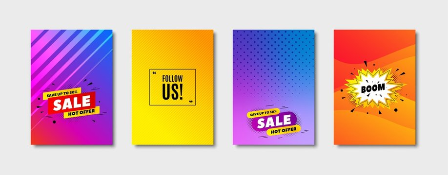 Follow us symbol. Cover design, banner badge. Special offer sign. Super offer. Poster template. Sale, hot offer discount. Flyer or cover background. Coupon, banner design. Vector