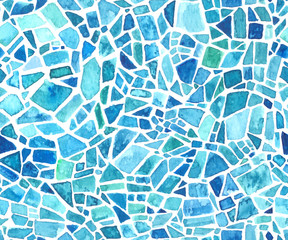 Seamless mosaic texture. Vector blue kaleidoscope background. Watercolor geometric pattern. Stained glass effect.