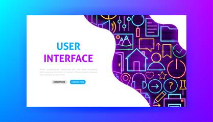 Web User Interface Neon Landing Page
