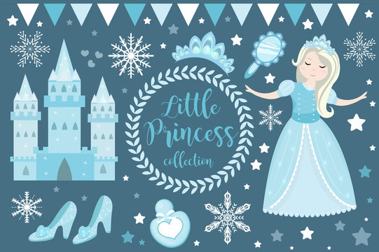 Cute little snow princess, cold queen objects set. Winter Collection design element with pretty girl, ice castle, mirror, crown, accessories. Kids baby clip art funny smiling character. Vector