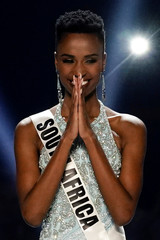 Miss Universe winner Zozibini Tunzi, of South Africa, is seen during the 2019 Miss Universe pageant at Tyler Perry Studios in Atlanta
