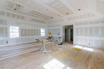 Industry new home construction interior drywall finish