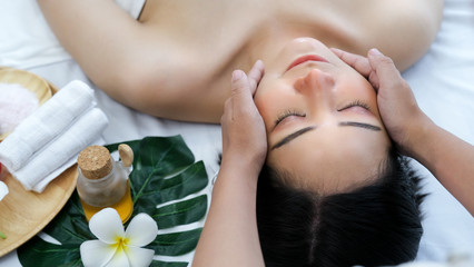Leisure asian young woman in spa salon.