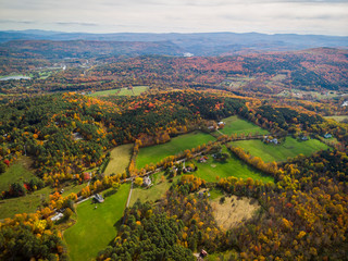Fall foliage seen from the air near Quechee, Vermont.