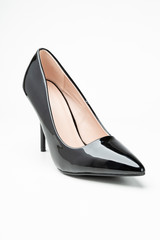 women's patent high heel shoes black color isolated on white background