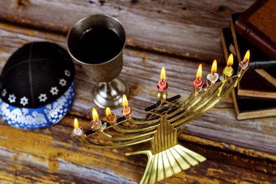 Jewish holiday Hanukkah with menorah in the festival
