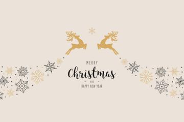 Fototapete - Christmas reindeer snowflake swirl elements ornaments greeting card background