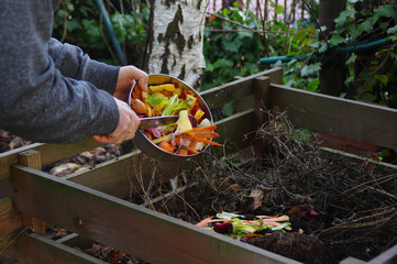 Kitchen waste recycling in composter