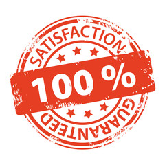 Customer satisfaction guaranteed 100 percent rubber stamp icon isolated on white background. Vector illustration