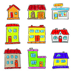 Hand drawn houses icon set. Simple outlined residential buildings, stylized like kids painting. Black and white symbols isolated on white background.