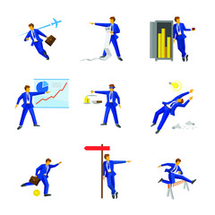 Set of manager characters isolated on white background. Businessman in different poses - working, standing, running, talking. Business concept icons. Vector illustration.