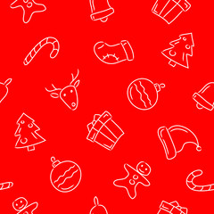 Christmas and New Year seamless pattern. Bell, gift, Santa's hat, sock, candy and over. Hand drawn signs on red background.