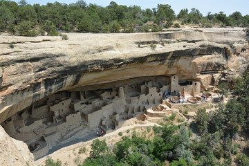 Cliff palace village in mesa verde national park stock photo