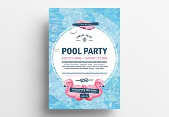 Pool Party Event Poster Layout