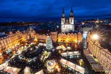 Prague's Old Town Square Christmas Market viewed from the Astronomical Clock during blue hour, UNESCO World Heritage Site, Prague, Czech Republic, Europe