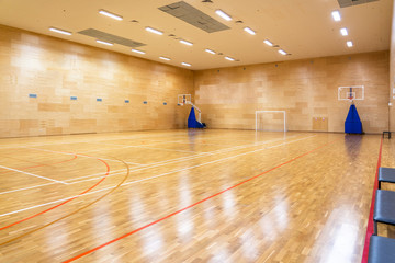 Photo on textile frame Fitness Interior of empty modern basketball or soccer indoor sport court